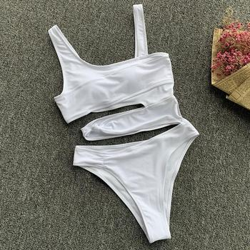 Sexy solid bikini punk one piece swimsuit women swimwear cut out hollow beachwear Push Up Monokini Bathing Suits Beach Wear 2020 8