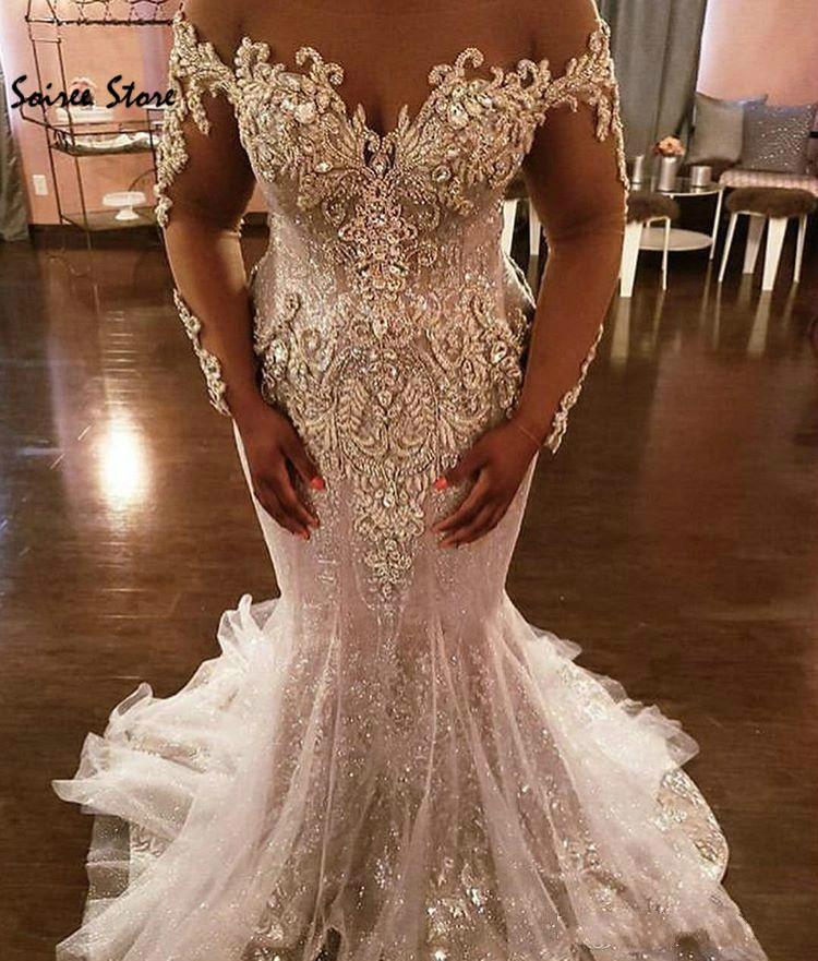 Шикарное Сверкающее свадебное платье русалки африканского размера