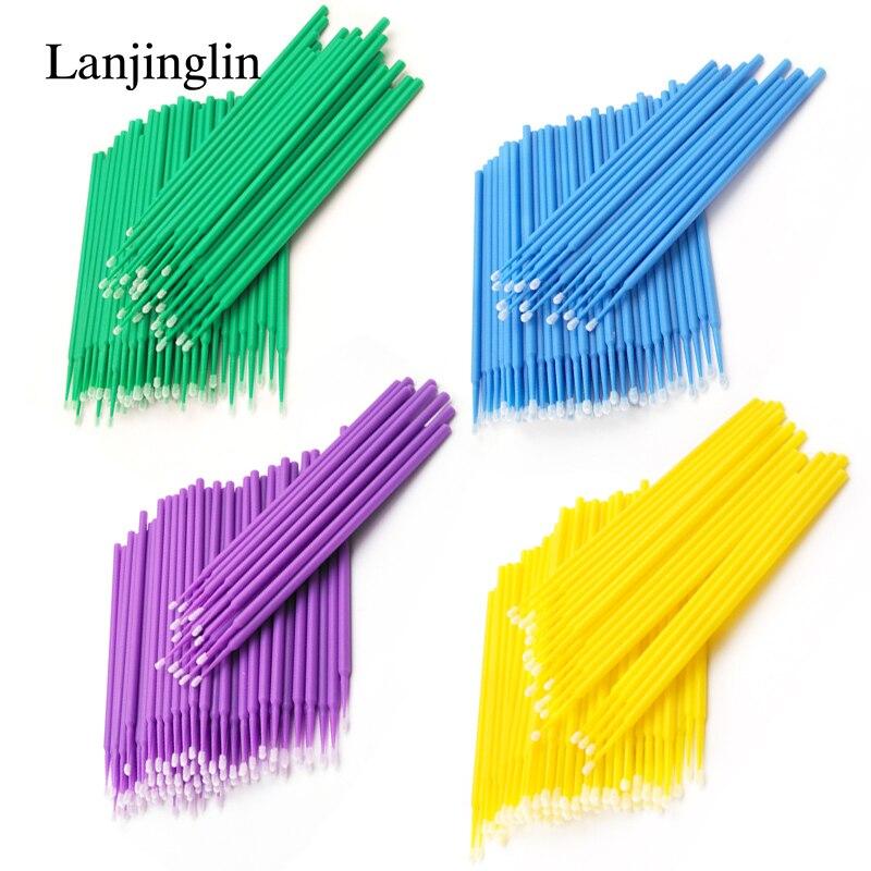 LANJINGLIN 100 PCS Disposable Make Up Eyelashes Mini Individual lashes Applicators Mascara Brush Lash Extensions Cotton Swab