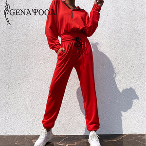 Image 4 - Genayooa Brand Tracksuit Women Fitness Two Piece Set Top And Pant Long Sleeve Crop Top Sweat Suits Women 2 Piece Set Female 2019