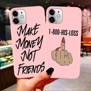 MAKE MONEY Cash Black head Girl Fundas Soft phone case for iPhone 11 Pro Max X XR XS 8 7 6s Plus Matte Candy Pink Silicone Cases(China)