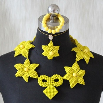Dudo Store Jewelry Set For Nigerian Women Yellow Flowers African Party Bead Jewerly Necklace Set Bracelet Earrings Necklace Set