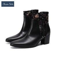 Christia Bella Fashion Floral High Heels Men Boots Plus Size Genuine Leather Party Club Short Boots Jazz Dance Ankle Boots Botas