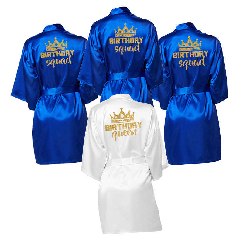 Birthday Party Queen&Squad Robes Satin Pajamas Robe Dressing Gown Pajamas Personalized Robes