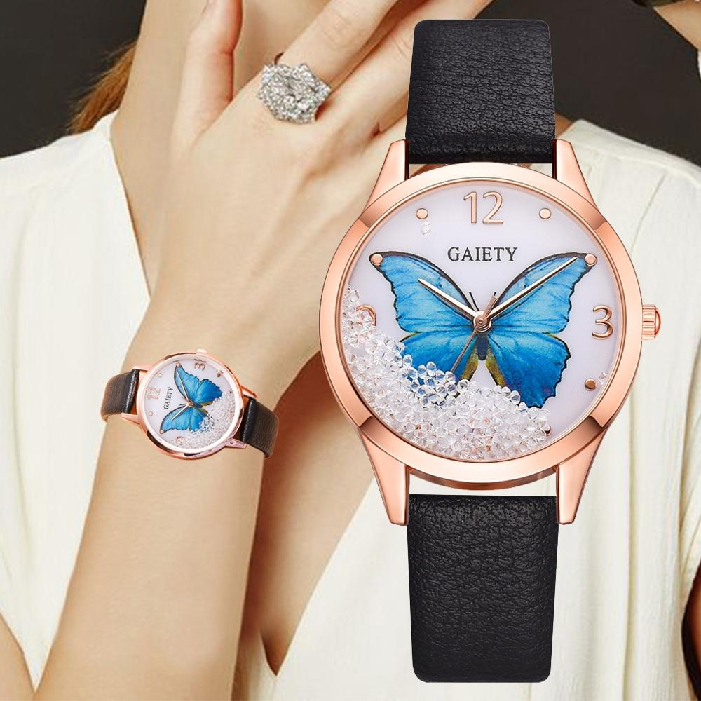 Gaiety Brand Women Watches Luxury Removable Rhinestone Butterfly Watches Ladies Leather Dress Ladies Wrist Watches Female Clock