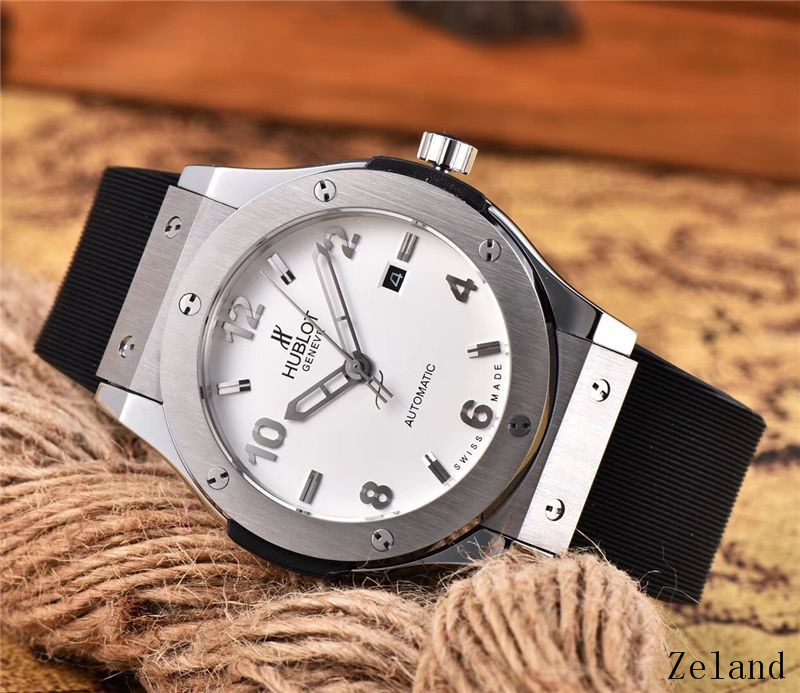 HUBLOT Luxury Brand Quartz Mens Watches Mechanical Wristwatches Stainless Steel Strap  Men's Wristwatch Classic Business Dress