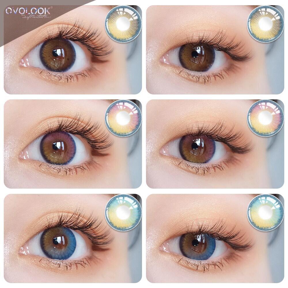 OVOLOOK-2pcs/пара цветные контактные линзы цветные линзы для глаз 3 тона цветные линзы для Глаз 0-800 градусов ежегодные контакты