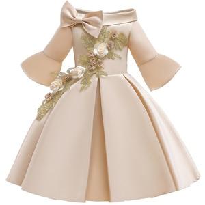 Image 2 - פרח ילדה רומנטי חתונה מסיבת משתה שושבינה כתף שמלת ילדה יום הולדת מסיבת ביצוע סעודת האדון מסיבת שמלה