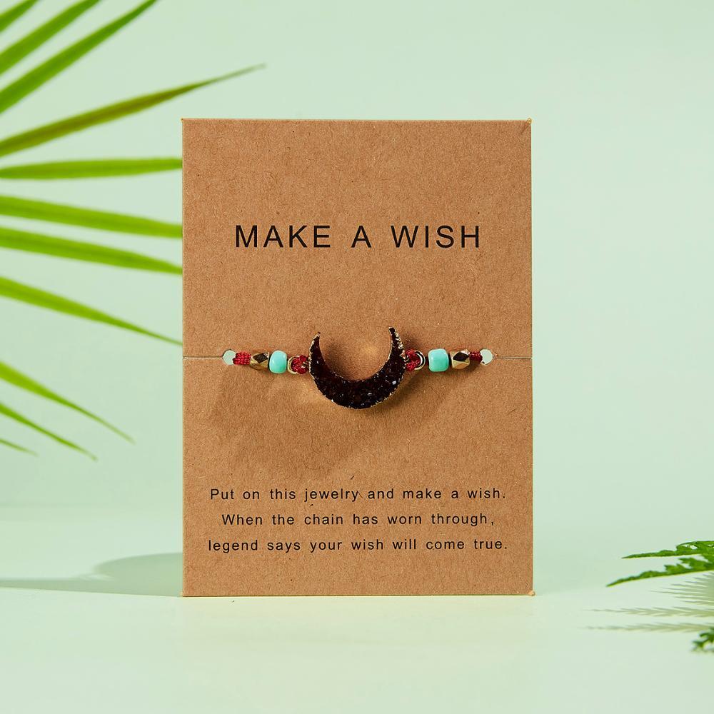 Натуральный камень Новая 7 цветная подвеска тканый браслет с картой Загадай желание регулируемый браслет из веревки для женщин очаровательные подарочные украшения - Окраска металла: 15