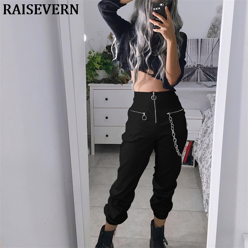 Gothic Harajuku Zipper Streetwear Women Casual Harem Pants With Chain Solid Black Pant Cool Punk Hip Hop Long Trousers