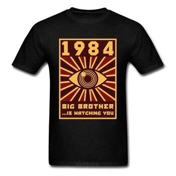 1984 Big Brother T-shirt Men Black Tops Graphic Tshirt Hor Eye Clothing Vintage Tees 80s T Shirts Funny Hipster Streetwear