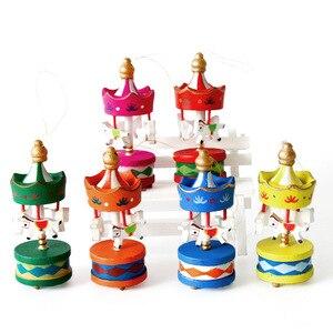6 шт./партия рождественские украшения Милая карусель Веселая круглая деревянная поделка сделай сам украшение для рабочего стола для детей и...