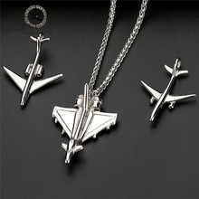 Punk Men's Fashion Airplane Pendant Male Custom stainless steel Long Chain Aircraft Necklace Women Jewelry Gift Dropshipping New(China)