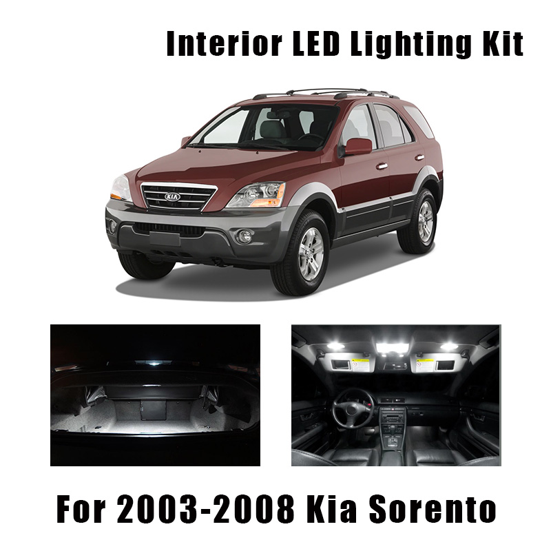 14 Bulbs White LED Car Door Light Interior Kit Fit For 2003-2006 2007 2008 Kia Sorento Map Dome Trunk Cargo License Lamp Canbus