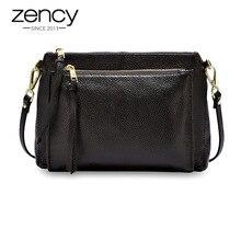 Zency Casual Women Messenger Bag Real Genuine Leather Brown Handbag Fashion Lady Shoulder Crossbody Purse Black Handbag Flap