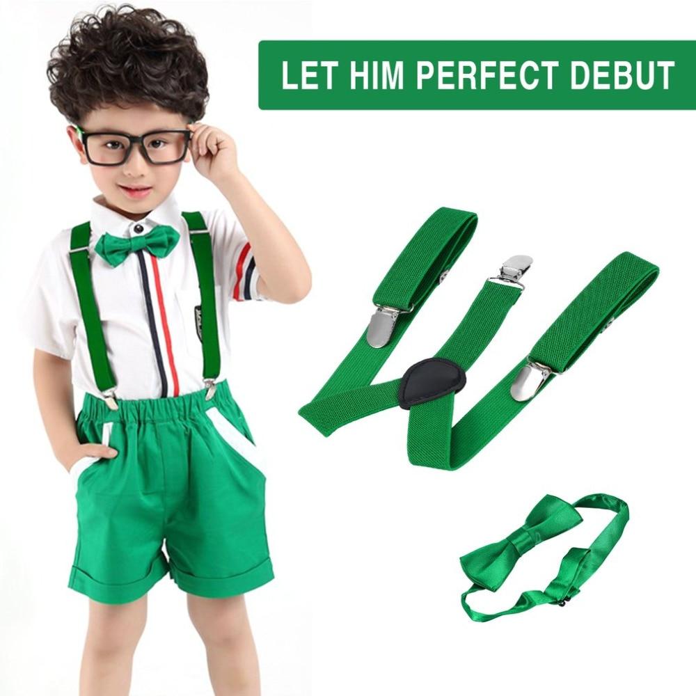 1PC Kids Elastic Suspenders & Bow Tie Matching Tuxedo Suit Unisex Boy Girl Bowtie Children Costume Adjustable Y-Back Brace Belt