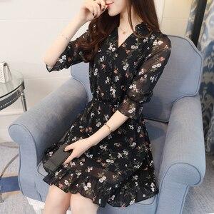 Image 4 - Plus Size Summer Vintage Chiffon Floral Boho Shirt Dress 2020 Korean Elegant Women Party Mini Dresses Casual Sun Beach Vestidos