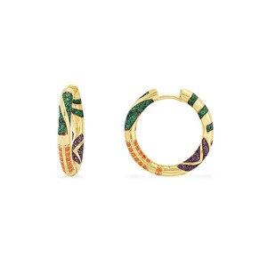 Image 1 - Sljelyリアル 925 スターリングシルバーイエローゴールド色多色ジルコニアceometricパターン部族フープイヤリング女性マナジュエリー