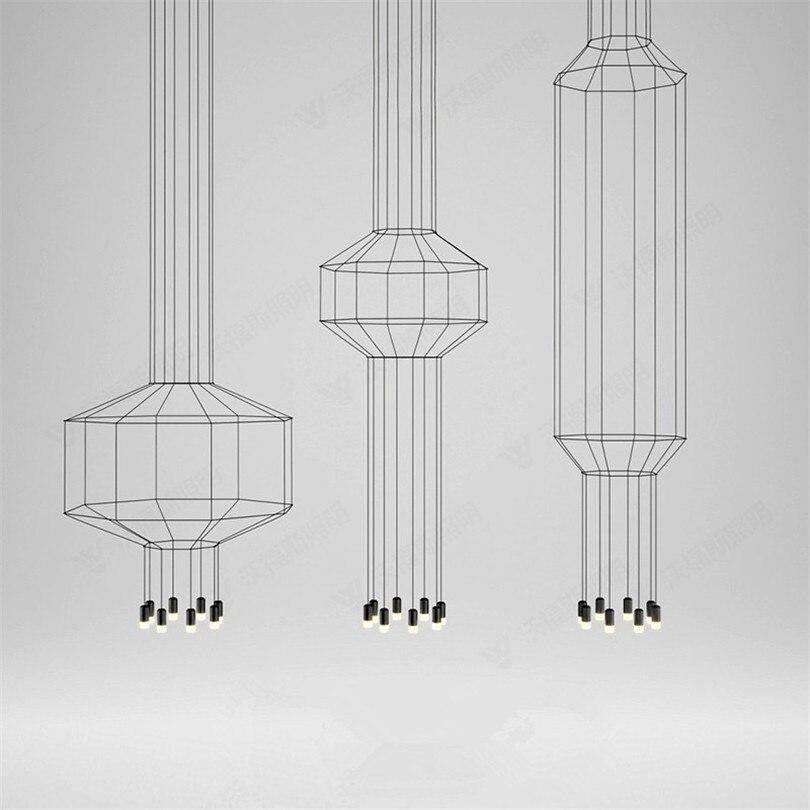 Nordic Design Line LED Pendant Lights Geometric Line Hanging Lamp Wireflow Led Lustres Pendant Lamp For Living Room Shop Hotel