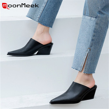 MoonMeek 2020 new arrival genuine leather shoes women pumps pointed toe summer wedges shoes fashion casual woman mules shoes