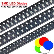 100PCS 0402 0603 0805 1206 1210 SMD LED Diodes light Yellow Red  Green Blue White