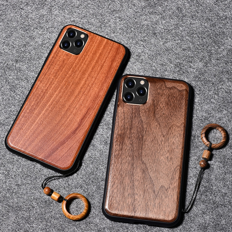 Real Wooden Hard Shockproof Back Cover Case with Wood Lanyard for iPhone 12 Mini