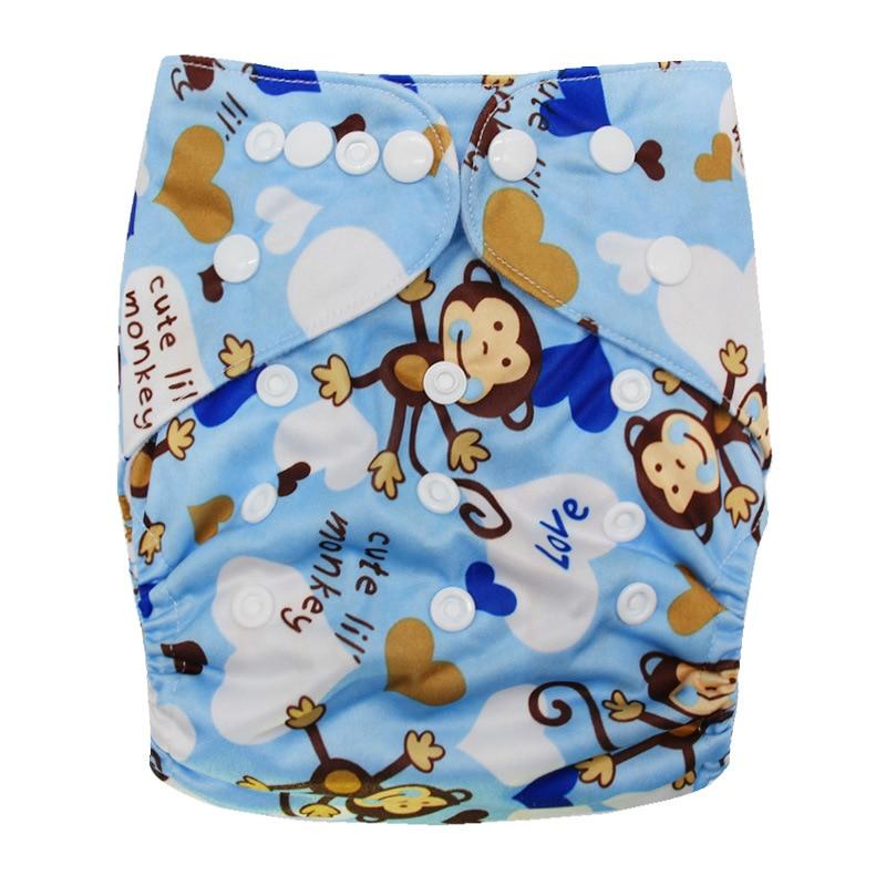 Детские моющиеся многоразовые подгузники из настоящей ткани с карманом, подгузники, чехлы для подгузников, костюмы для новорожденных и горшков, один размер, подгузники с героями мультфильмов - Цвет: Monkey