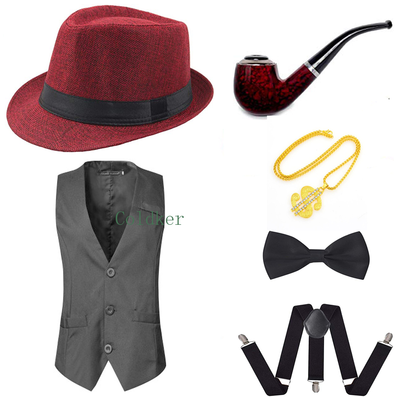Party Accessory 1920s Mens Gatsby Gangster Vest Costume Accessories Set Hat Suspender Bow Tie Cosplay Costumes