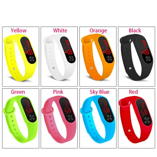 Men Women Casual Sports Bracelet Watches White LED Electronic Digital Candy Color Silicone Wrist Watch for Children Kids 3