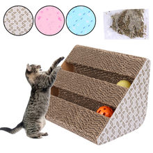 Pet Cat Enjoy Playing Scratcher Pad with Catnip Cute Scratching Ramp Corrugated Paper Cardboard with Ball Cat Scratch Toys(China)