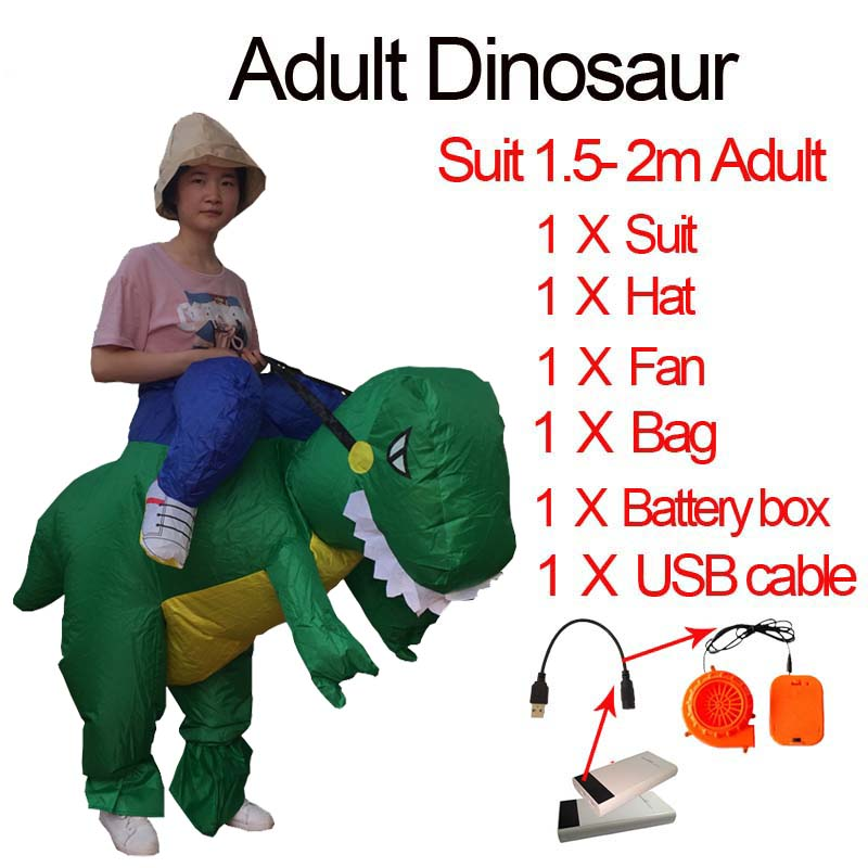 Dragon t rex Dino Rider Suit T-Rex Costume Purim Cosplay Christmas Adult Halloween Inflatable Dinosaur Costume For Women Men (4)