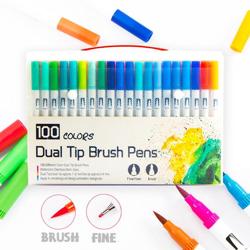 100 ponta dupla escova caneta marcador conjunto flexivel escova fineliner dicas efeitos de aquarela marcadores perfeitos