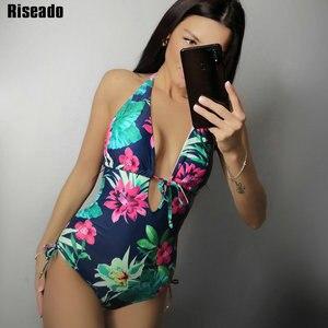 Image 1 - Riseado nowy 2020 stroje kąpielowe kobiety Sexy tłoczenie jednoczęściowy strój kąpielowy Monokini Halter kobiety stroje kąpielowe kwiatowy Print bikini