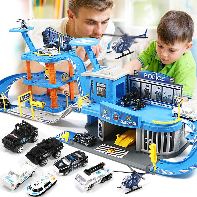 Children's Parking Lot Toy Multi-layer Track Car Alloy Airplane Police Engineering Truck Fire Truck Series  Toy Cars