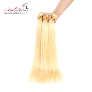 Image 3 - 613 חבילות עם סגירה ברזילאי ישר רמי שיער ארבלה 100% שיער טבעי Weave חבילות בלונד חבילות עם סגירה