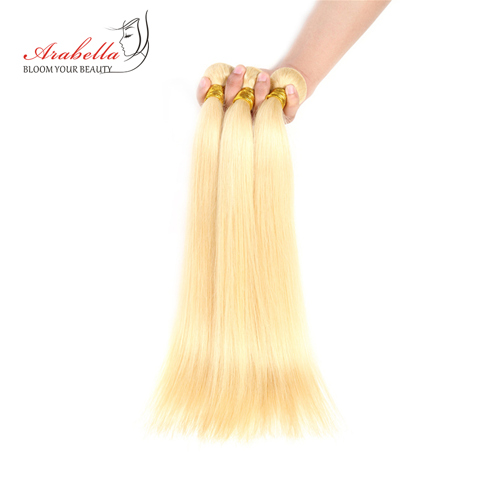 Image 3 - 613 Bundles With Closure Brazilian Straight Remy Hair Arabella 100% Human Hair Weave Bundles Blonde Bundles With Closure-in 3/4 Bundles with Closure from Hair Extensions & Wigs