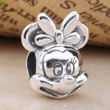Original Cute Mickey Mouse Portrait Beads Fit 925 Sterling Silver Bead Charm Women Pandora Bracelet Bangle Diy Jewelry(China)