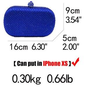 Image 5 - Boutique De FGG królewskie niebieskie cyrkonie sprzęgła damskie torby wieczorowe torebka ślubna wesele kryształowa torebka łańcuszkowa torba na ramię