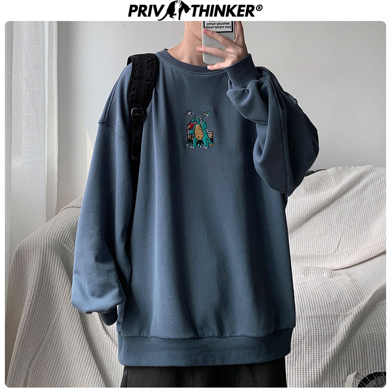 Privathinker Men Autumn Dinosaur Embroidery Pullovers Sweatshirts Mens 3 Colors O-Neck Hoodies Male Fashion Korean Sweatshirt