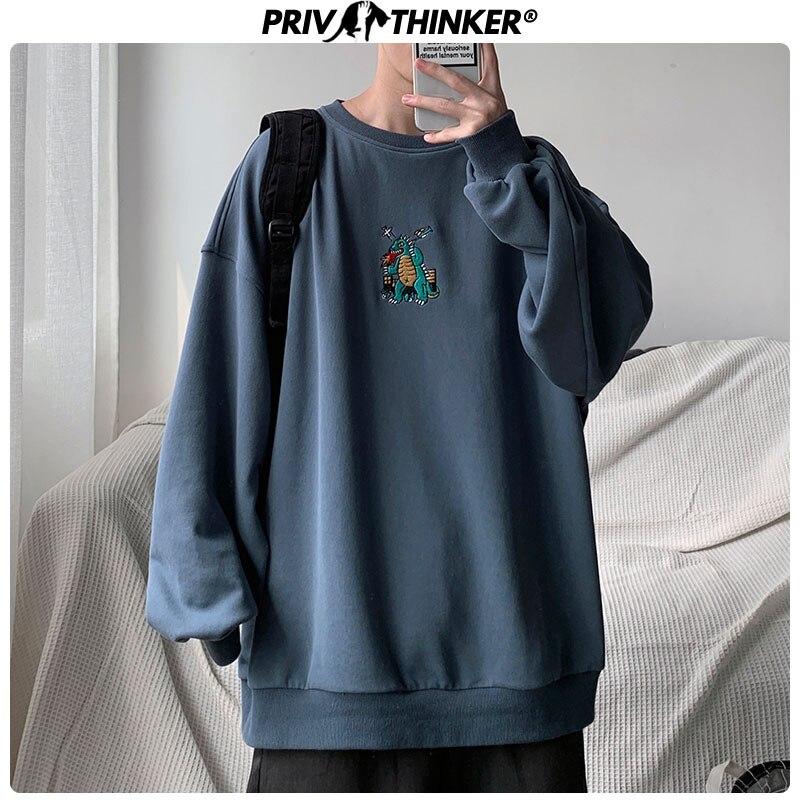 Privathinker, мужские осенние пуловеры с вышивкой динозавра, свитшоты, мужские толстовки с круглым вырезом, 3 цвета, Мужская модная Корейская толстовка|Толстовки и свитшоты|   - AliExpress