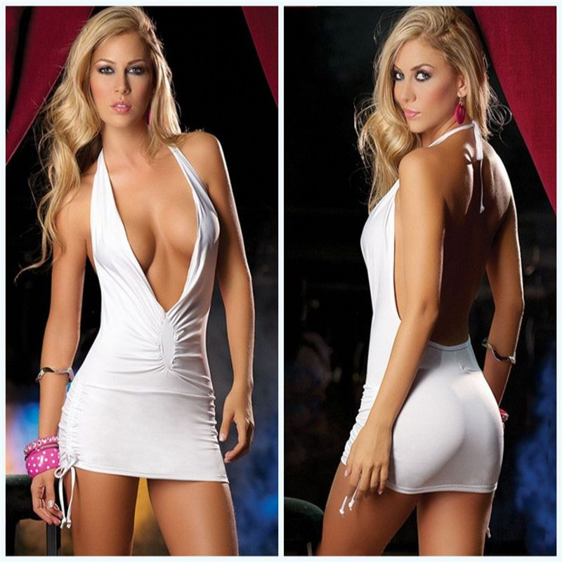 Women Sexy Backless Exotic Dress Hollow Out Deep V-neck Bundled Outfit Exotic Lingerie Sexy Sleeveless Pole Dance Mini Dress NEW