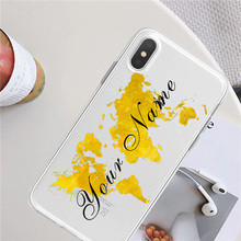 купить Phone Silicone Case For iPhone X XR XS MAX 8 7 6S 6P DIY Custom Name Gold World Map Travel Airplane Soft Clear Cover For iPhone дешево