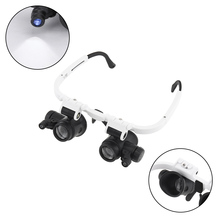 23X Portable Adjustable Interchangeable Lens Headband Eyeglass Magnifier with LED Lights for Repairing / Reading