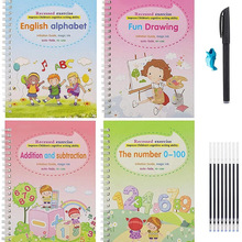 4pcs/Sets of Children's Magic Books Reusable 3D Calligraphy Copybooks English Number Lettering Practice Copybooks Learn English