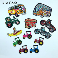 embroidery patch cartoon DIY Car color motorcycle submarine tractor for children clothing  thermo-adhesive stickers