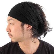 Solid Wide Cotton Sports Yoga Headbands For Women Men Lightweight Japanese Bandana Elastic Hairbands Turban Accessories Headwear
