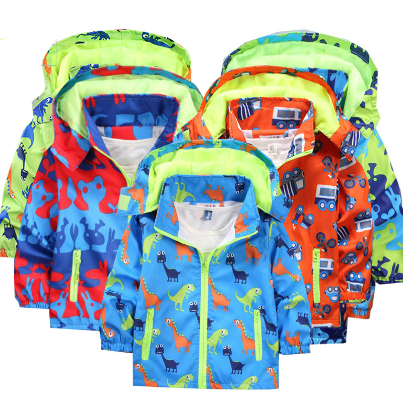 Children jackets hooded Waterproof Windbreakers spring jacket for girls Dinosaur Kids Toddler rain coat Jacket boy outerwear