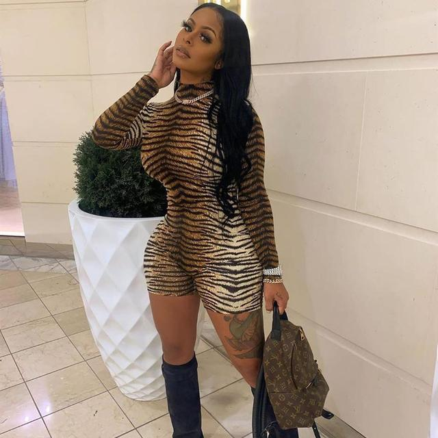 ANJAMANOR Cheetah Print Sexy Rompers Playsuit Fall Clothes for Women Clubwear High Neck Long Sleeve Bodycon Jumpsuit D83-I62 3
