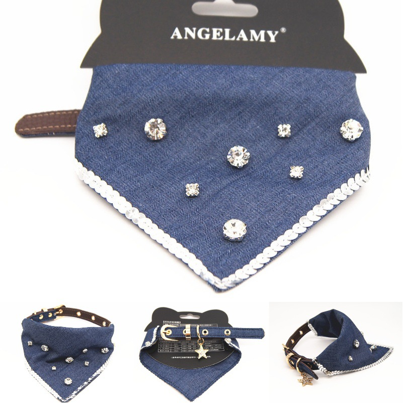 Cowboy Star Rhinestone Bibs Towable Pet Collar Dog Triangular Binder Pet Supplies