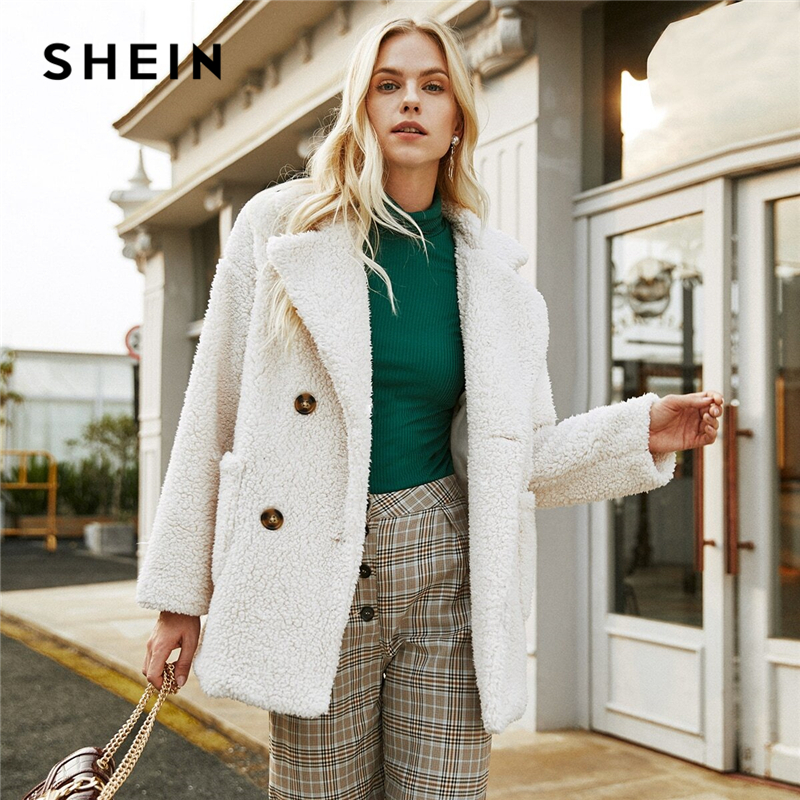 SHEIN Beige Double Button Pocket Teddy Coat Women Winter Long Sleeve Solid Lapel Collar Drop Shoulder Casual Outwear Coats 1